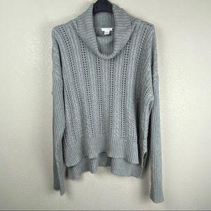 Mododoc cowl neck cable open knit sweater XL
